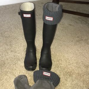 🆕Grey fleece and knit hunter boot socks